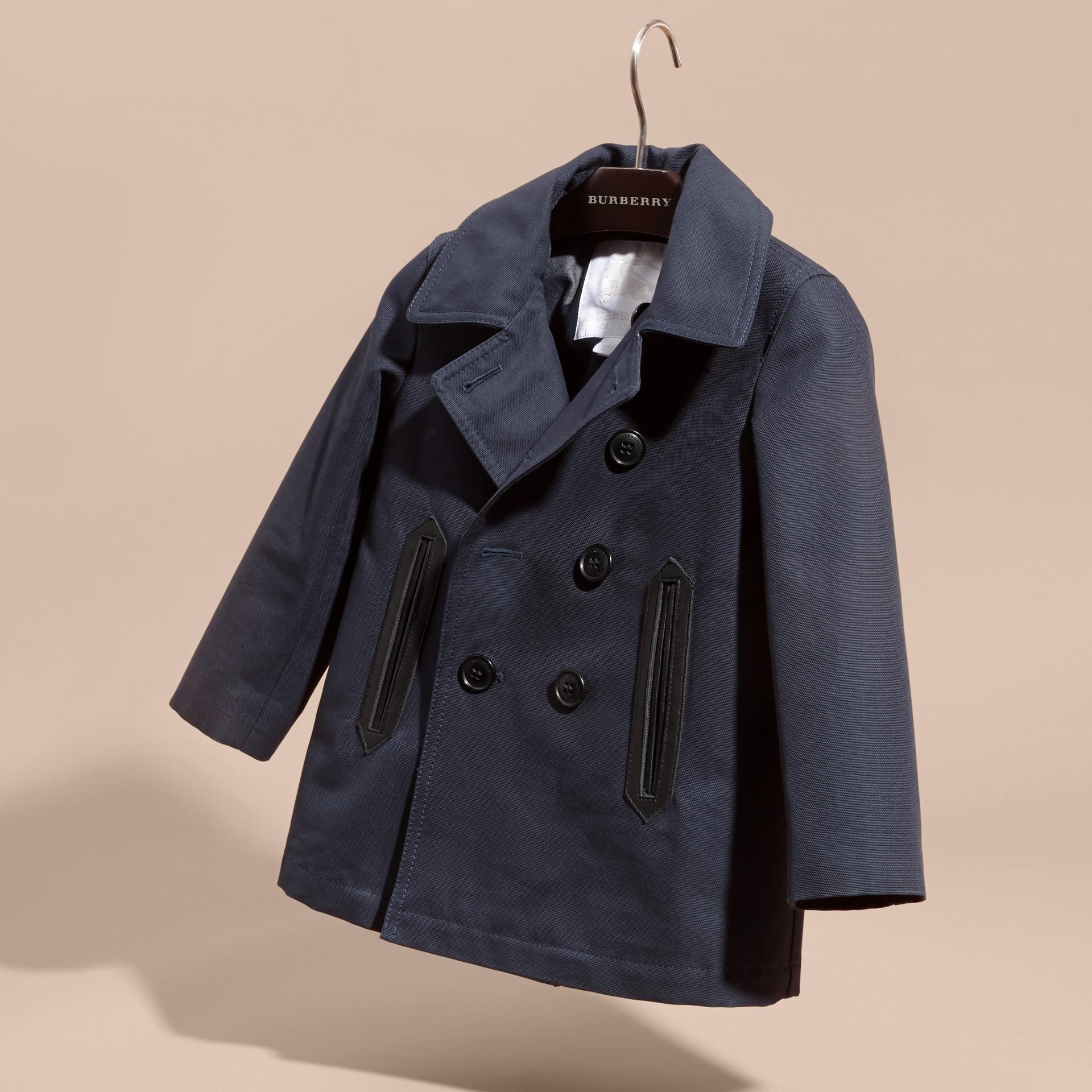 Leather Trim Cotton Pea Coat - gallery image 3