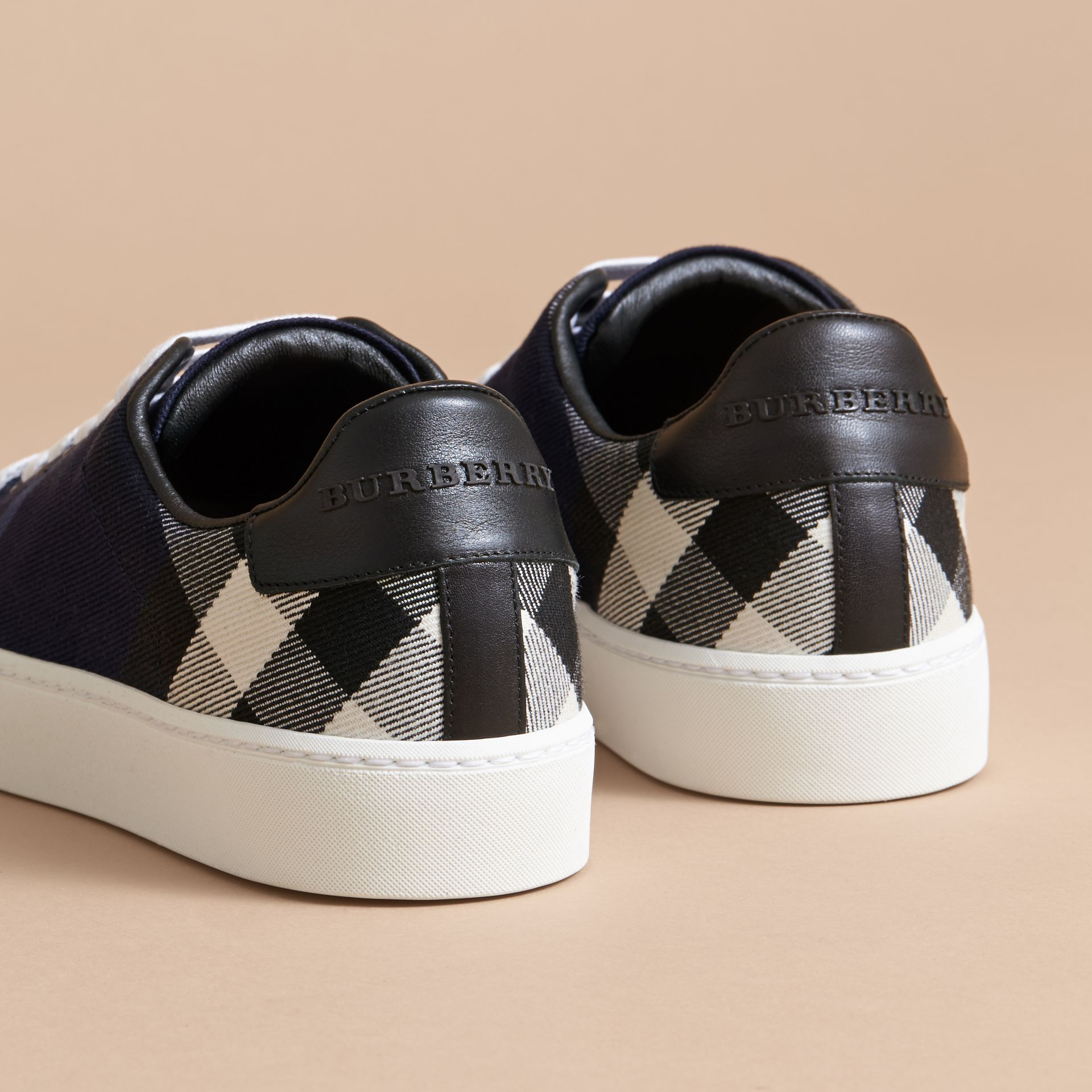 Overdyed House Check and Leather Trainers in Indigo Blue - Women | Burberry Australia - gallery image 4