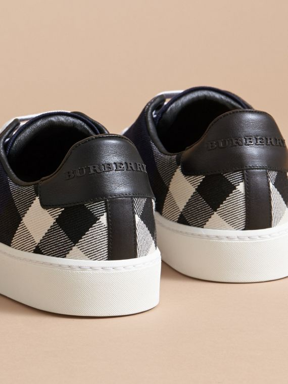 Overdyed House Check and Leather Trainers - Women | Burberry - cell image 3