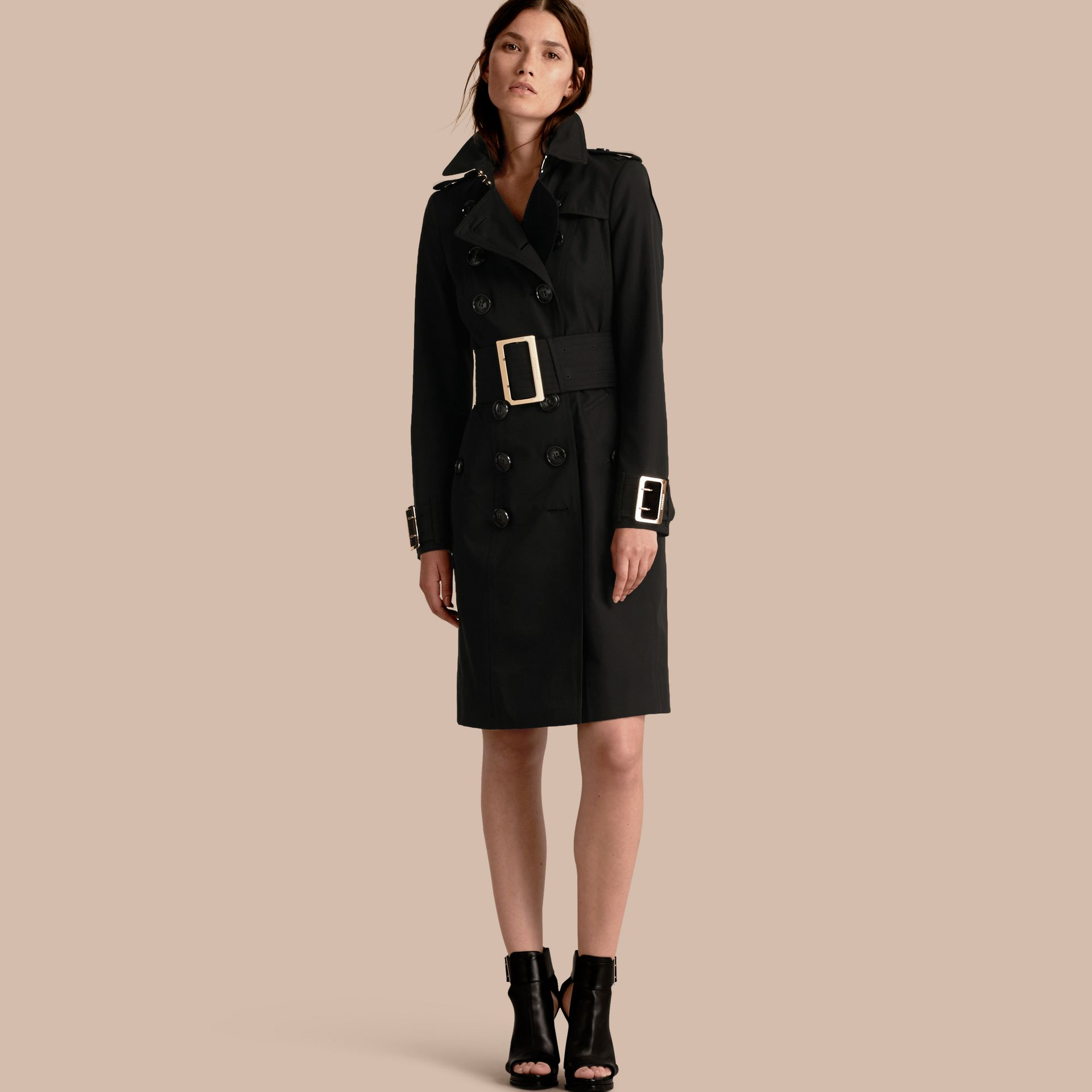 Cotton Gabardine Trench Coat with Oversize Buckles - gallery image 1