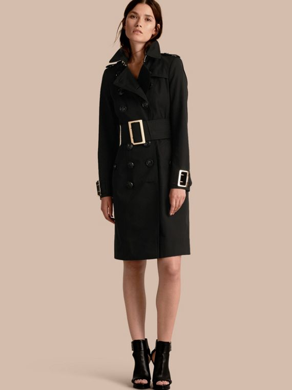 Cotton Gabardine Trench Coat with Oversized Buckles