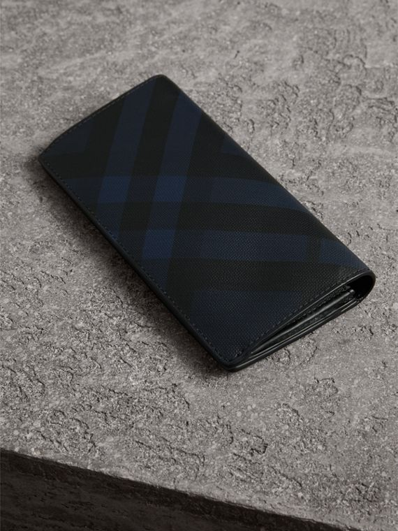 London Check and Leather Continental Wallet in Navy/black - Men | Burberry United States - cell image 2