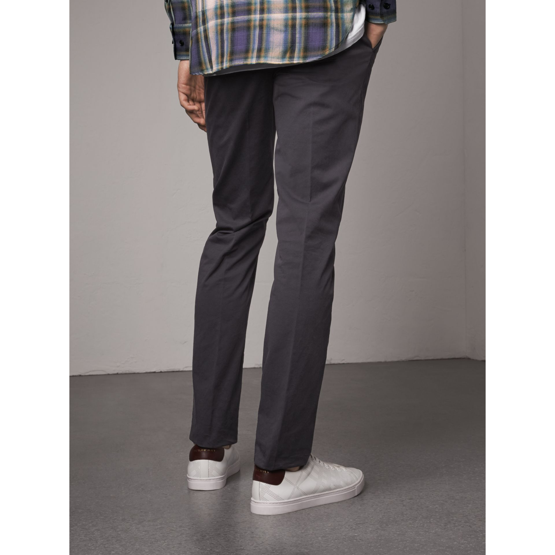Slim Fit Stretch Cotton Chinos in Navy - Men | Burberry - gallery image 3