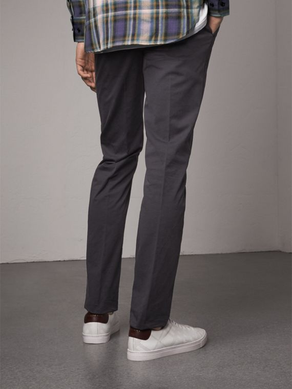 Slim Fit Stretch Cotton Chinos in Navy - Men | Burberry Canada - cell image 2