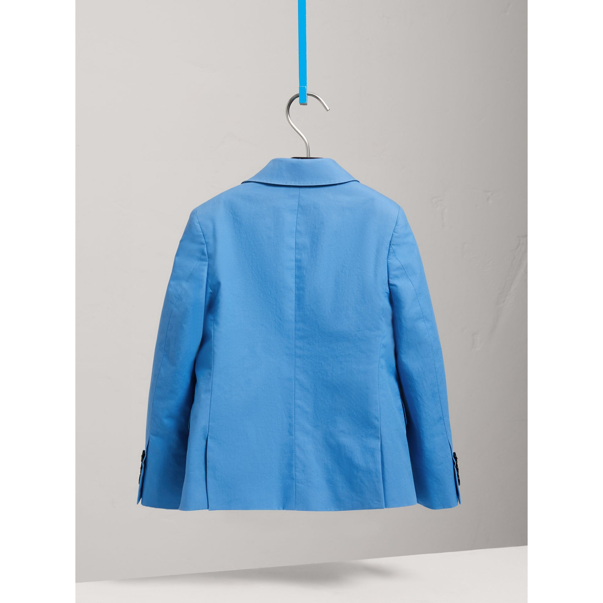 Cotton Poplin Blazer in Azure Blue | Burberry - gallery image 3