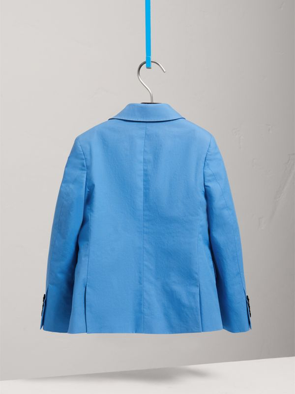 Cotton Poplin Blazer in Azure Blue | Burberry - cell image 3