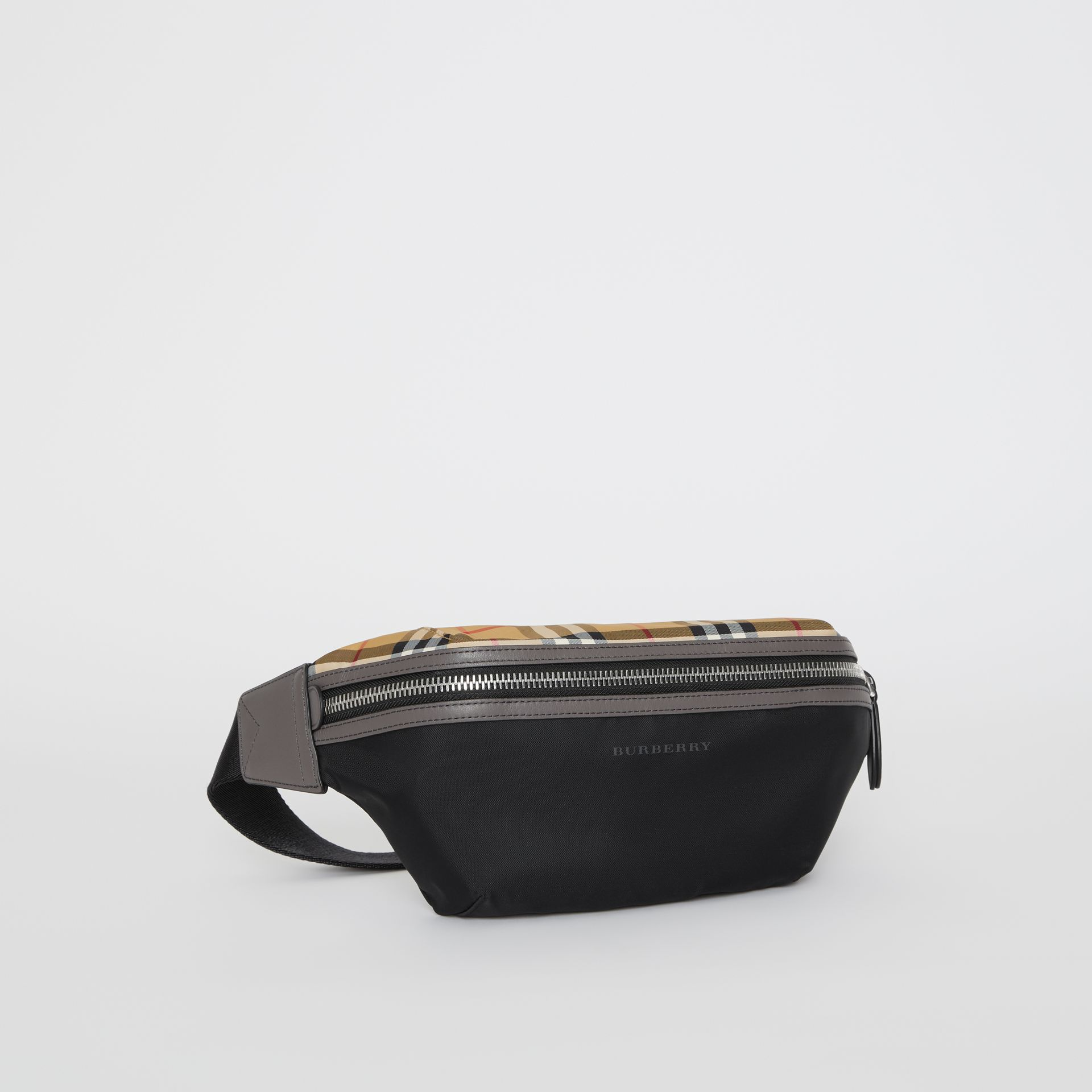 Medium Vintage Check and Nylon Bum Bag in Black | Burberry - gallery image 8