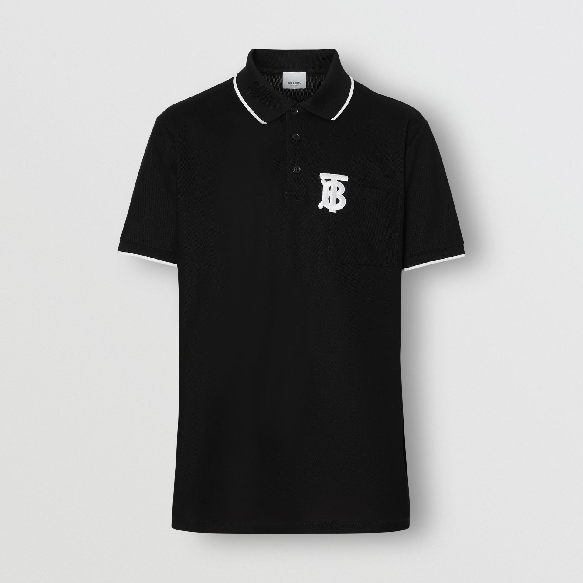 Monogram Motif Tipped Cotton Piqué Polo Shirt in Black - Men | Burberry United Kingdom - gallery image 3