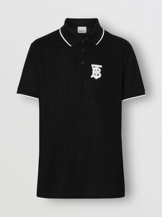 Monogram Motif Tipped Cotton Piqué Polo Shirt in Black