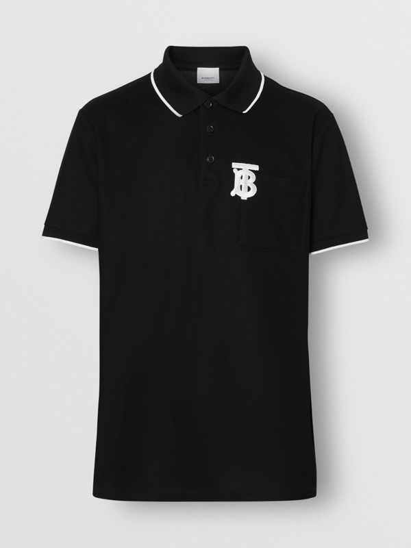 Monogram Motif Tipped Cotton Piqué Polo Shirt in Black - Men | Burberry Australia - cell image 3
