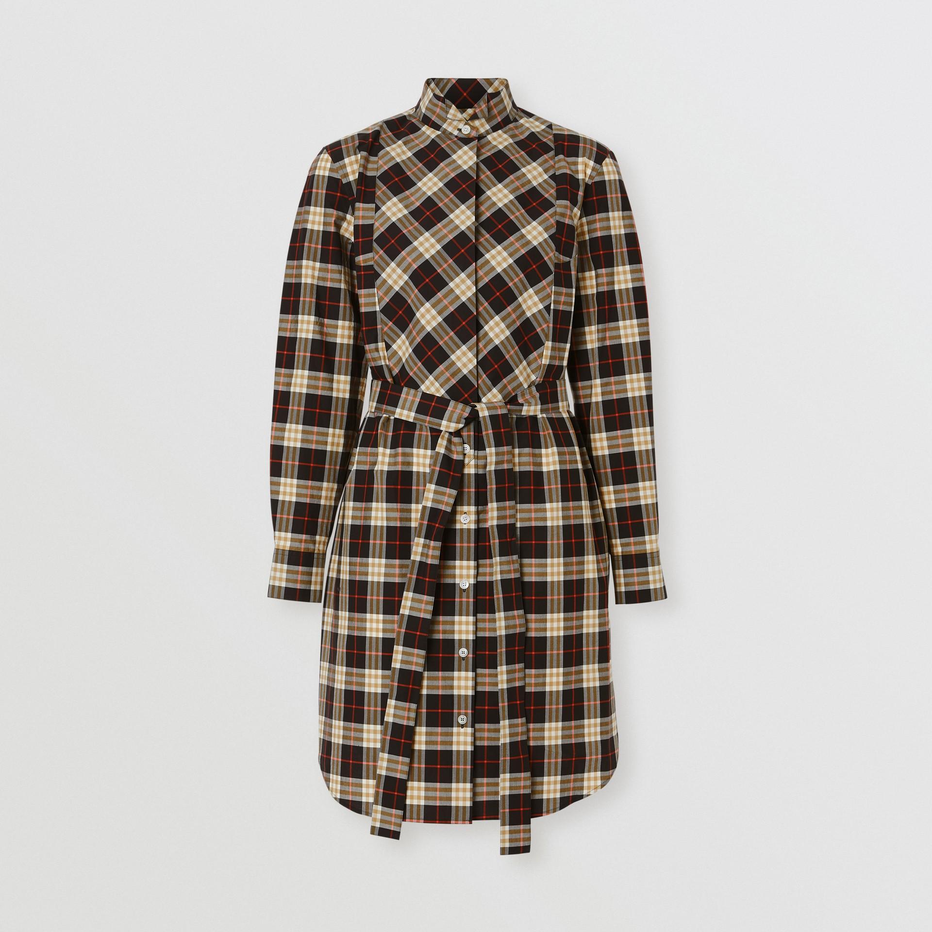 Abito chemisier in cotone con motivo tartan e cintura (Blu Notte) - Donna   Burberry - immagine della galleria 3