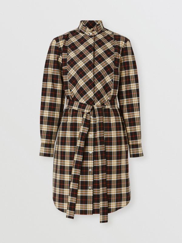 Check Cotton Tie-waist Shirt Dress in Midnight - Women | Burberry - cell image 3