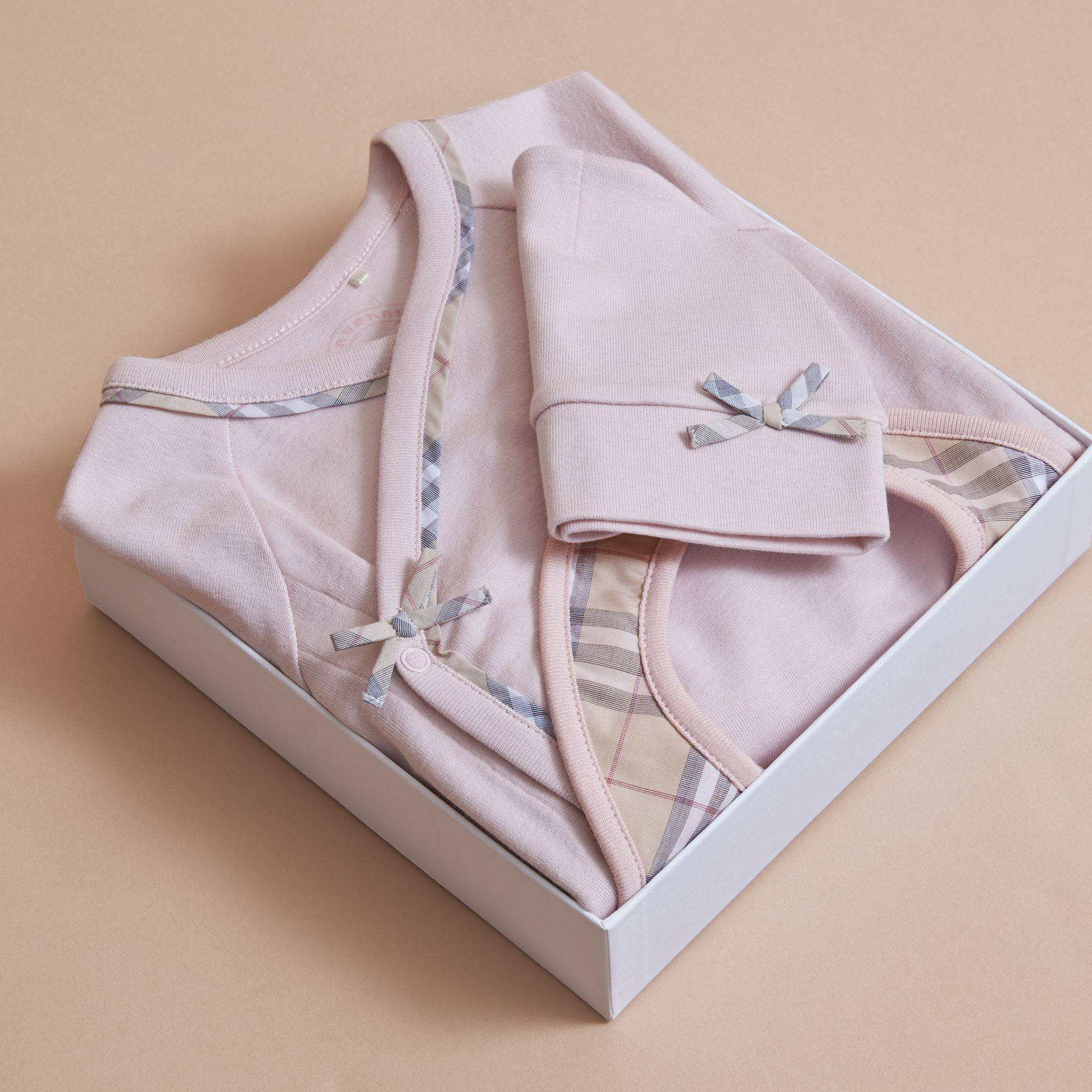 Cotton Three-piece Baby Gift Set in Powder Pink | Burberry - gallery image 3