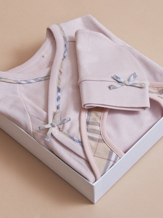 Cotton Three-piece Baby Gift Set in Powder Pink | Burberry - cell image 3