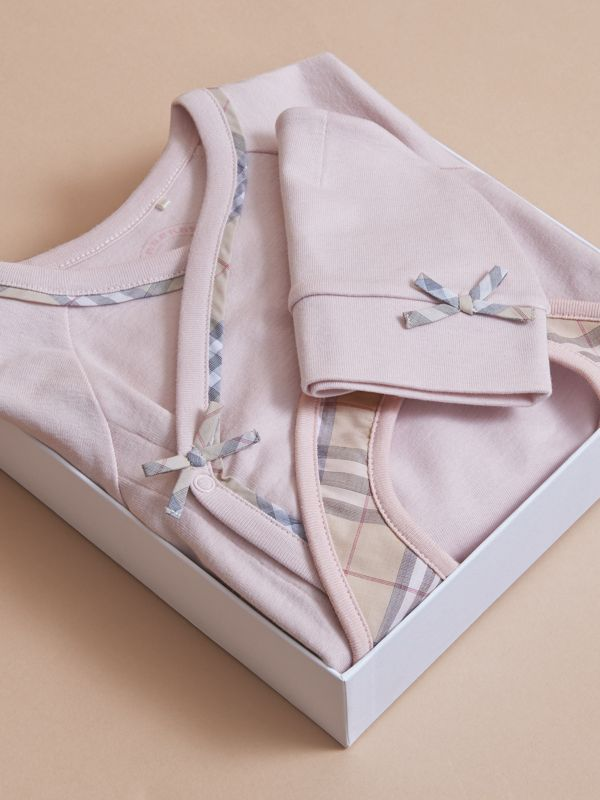 Cotton Three-piece Baby Gift Set in Powder Pink - Children | Burberry Canada - cell image 3