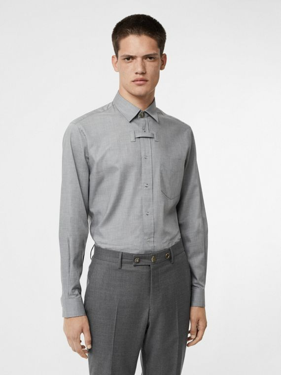 Monogram Button Cotton Shirt in Light Grey