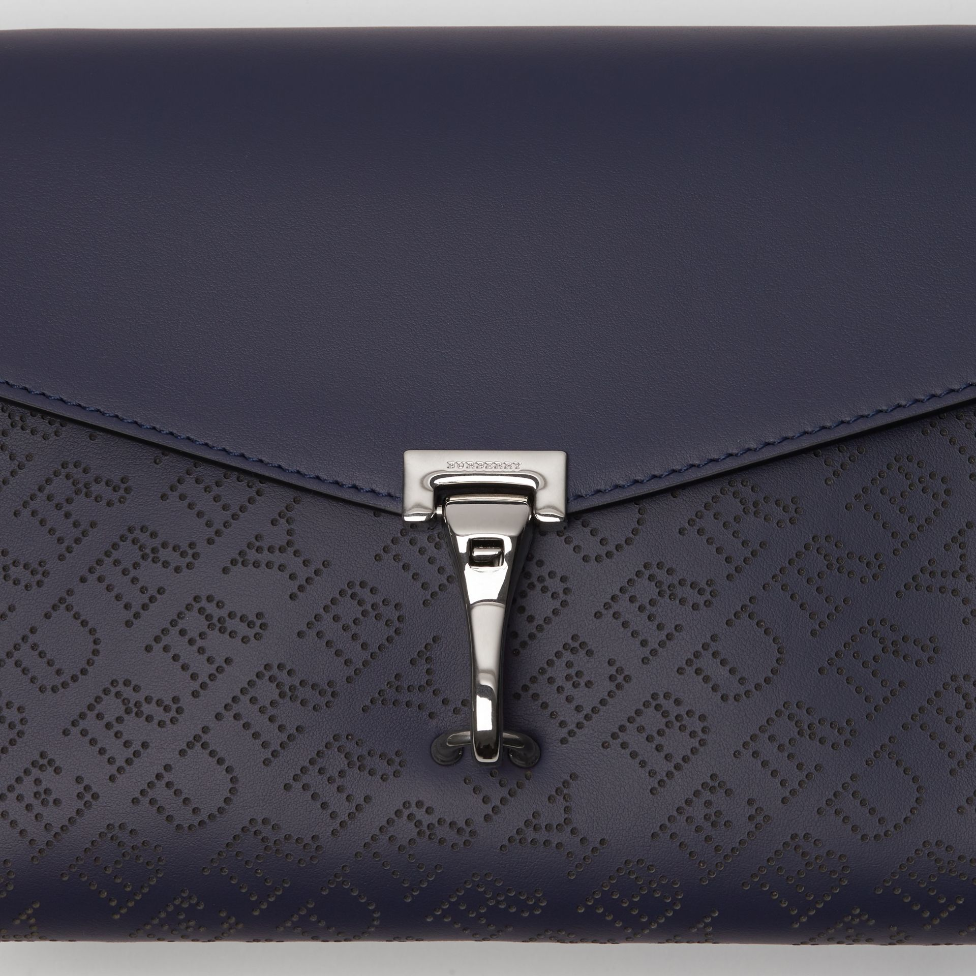 Small Perforated Logo Leather Crossbody Bag in Regency Blue - Women | Burberry - gallery image 1