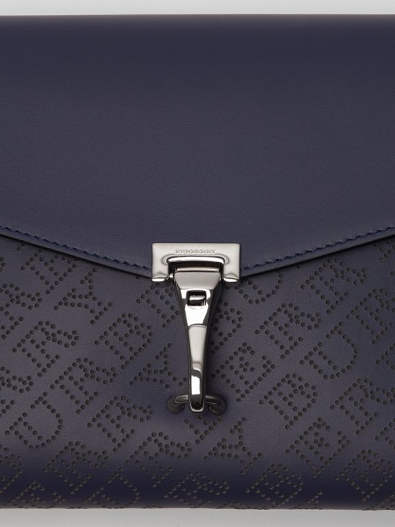 Small Perforated Logo Leather Crossbody Bag in Regency Blue - Women | Burberry - cell image 1