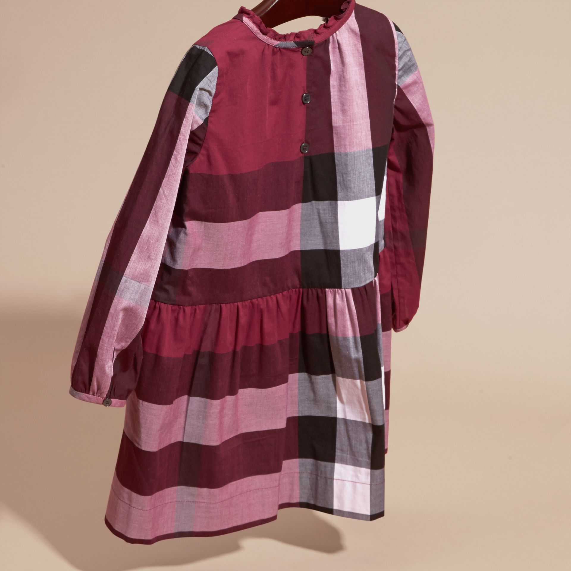 Dark plum pink Check Cotton Dress with Ruffle Detail Dark Plum Pink - gallery image 4