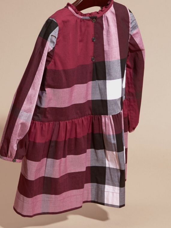 Dark plum pink Check Cotton Dress with Ruffle Detail Dark Plum Pink - cell image 3