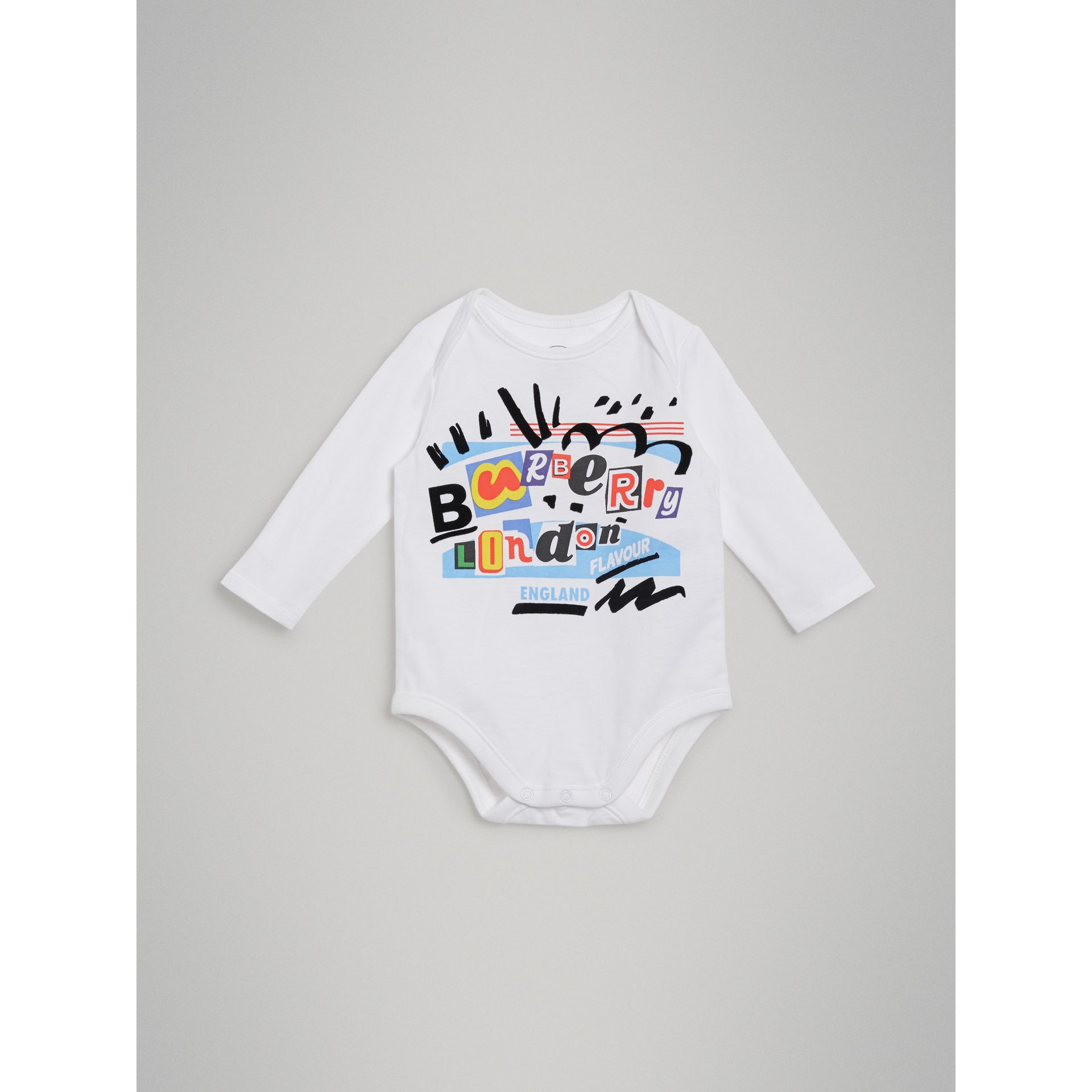 Graffiti Print Cotton Three-piece Baby Gift Set in Bright Blue - Children | Burberry - gallery image 5