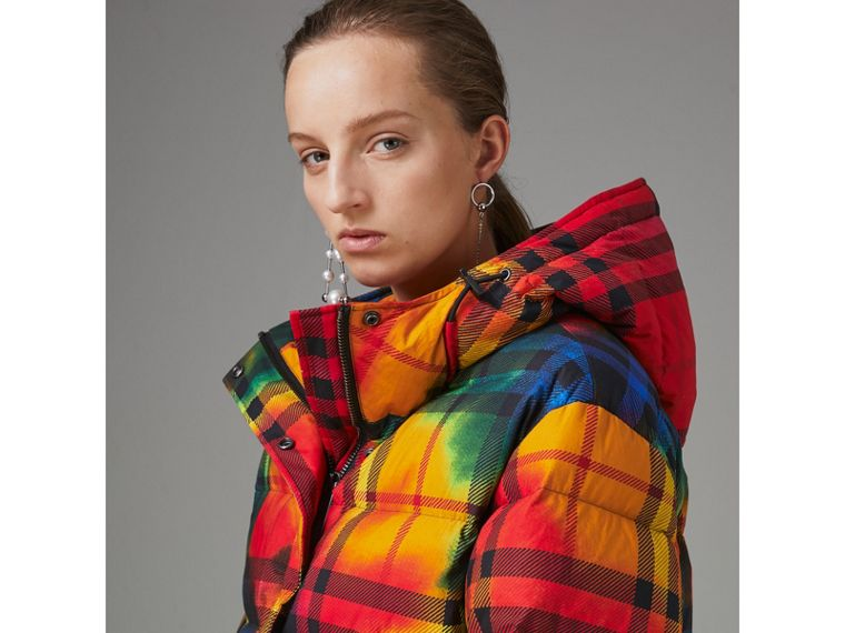 Tie-dye Print Vintage Check Puffer Jacket in Multicolour - Women | Burberry - cell image 1