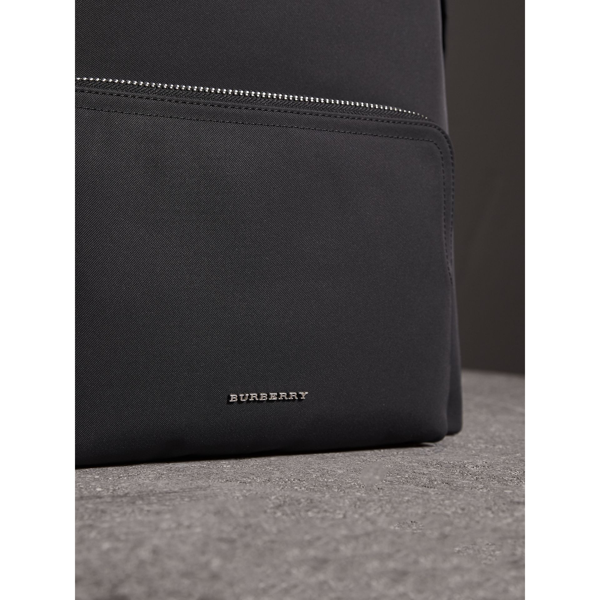 Leather Trim Technical Backpack in Black - Men | Burberry - gallery image 2
