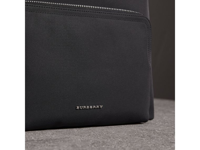 Leather Trim Technical Backpack in Black - Men | Burberry - cell image 1
