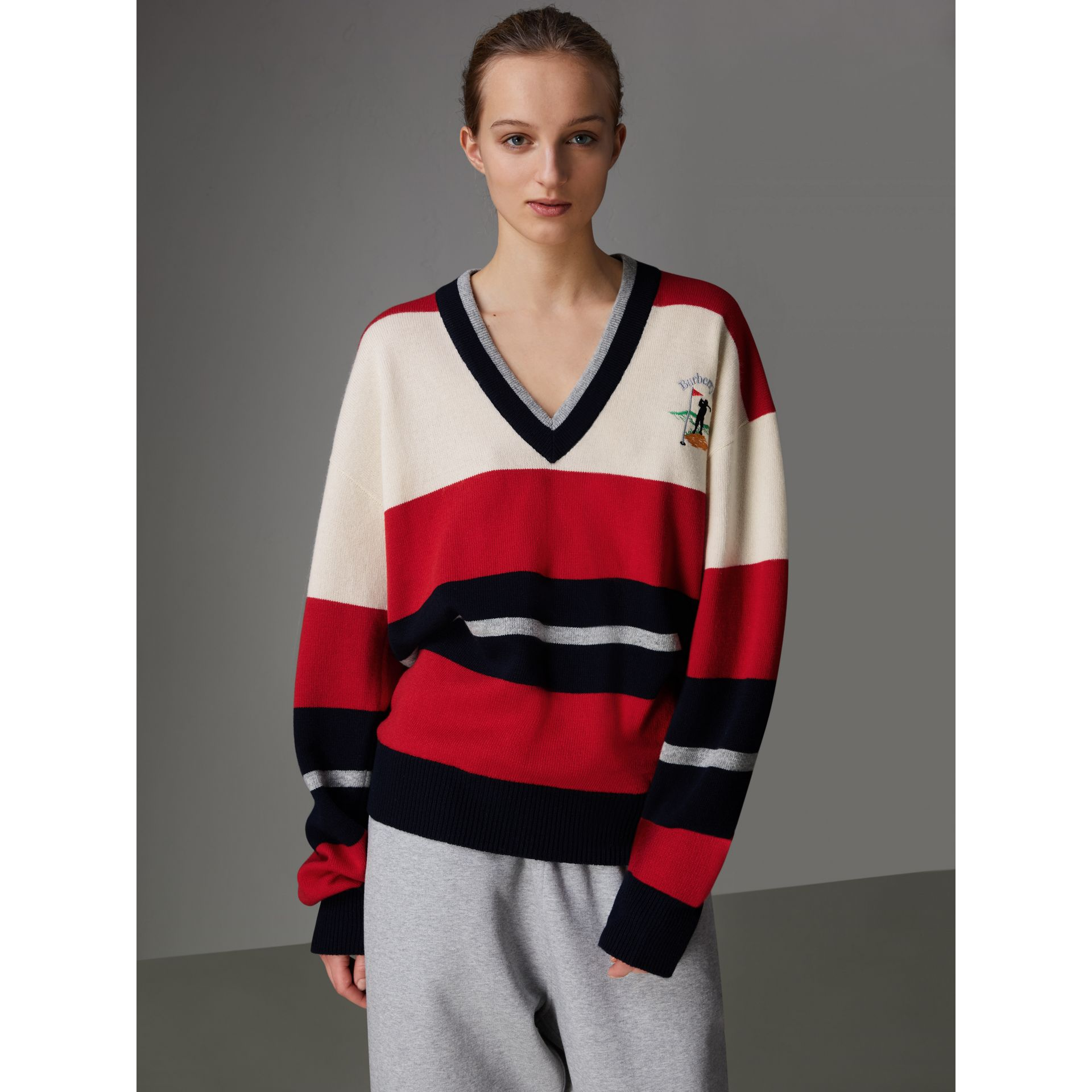 Reissued Striped Lambswool Sweater in Red/white - Women | Burberry United Kingdom - gallery image 4