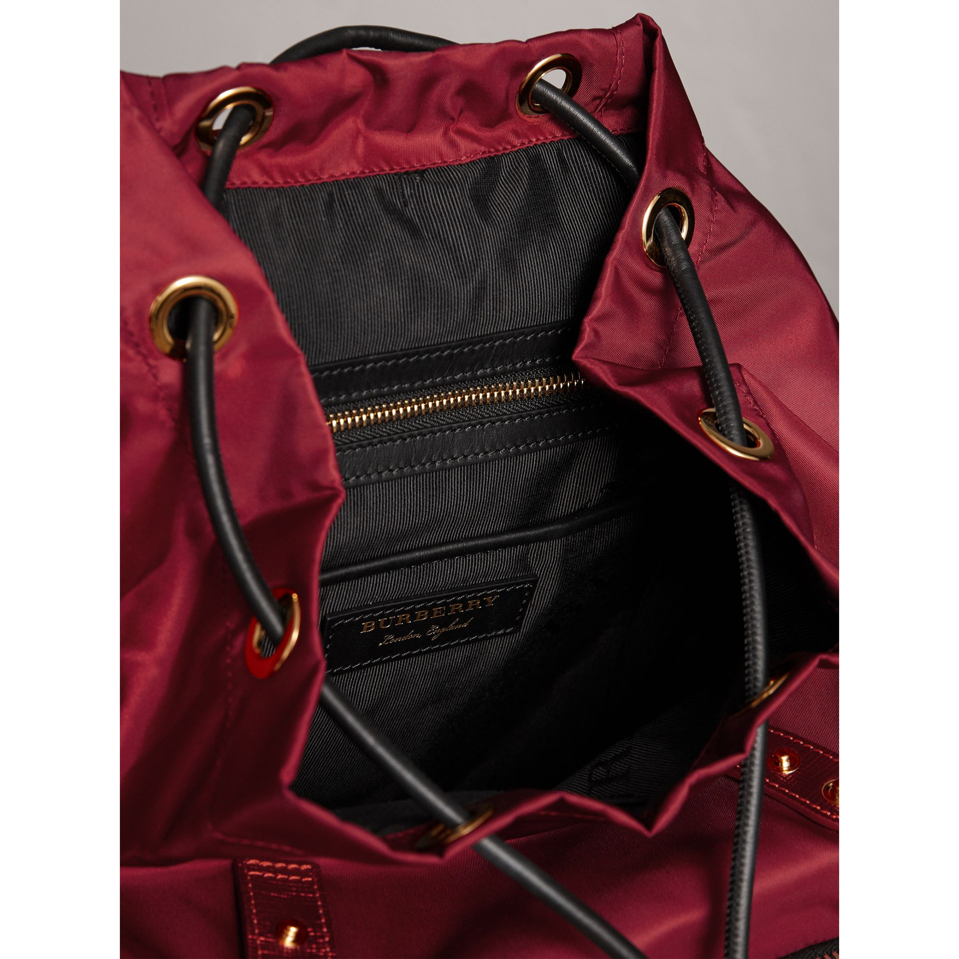 The Medium Rucksack in Technical Nylon and Leather in Crimson Red - Women | Burberry - gallery image 5