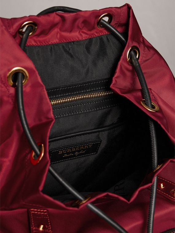 The Medium Rucksack in Technical Nylon and Leather in Crimson Red - Women | Burberry - cell image 3