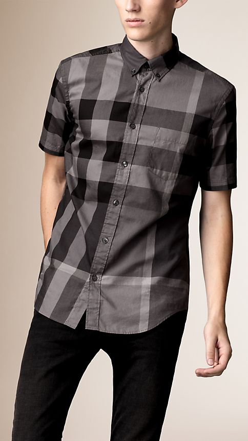 Charcoal Short-sleeved Check Cotton Shirt Charcoal - Image 1