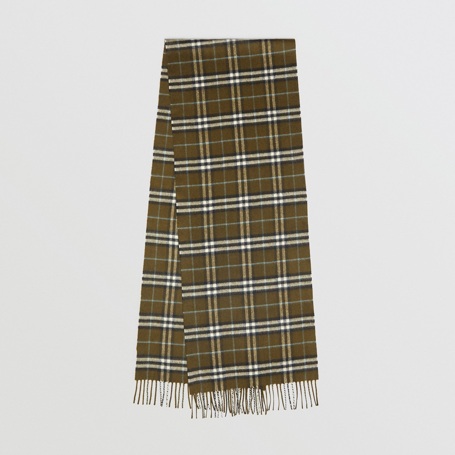 The Classic Vintage Check Cashmere Scarf in Military Brown | Burberry Australia - gallery image 0