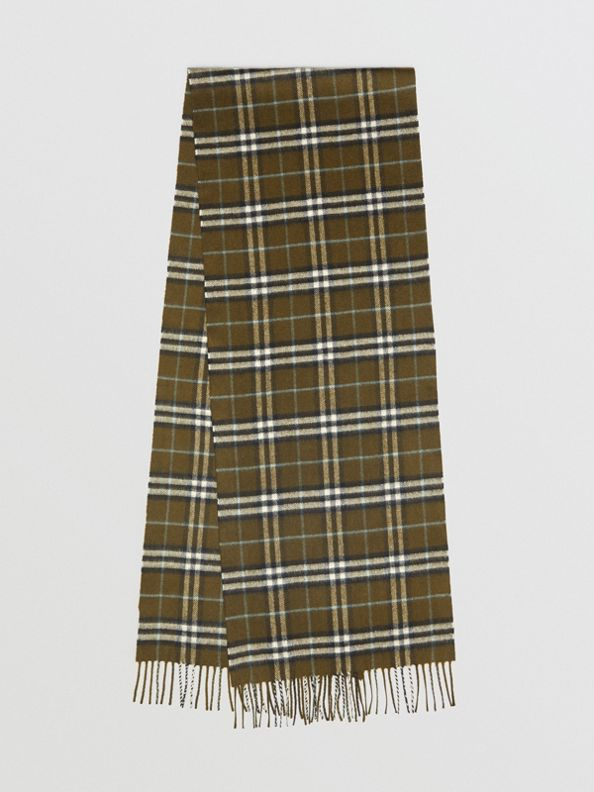 The Classic Vintage Check Cashmere Scarf in Military Brown