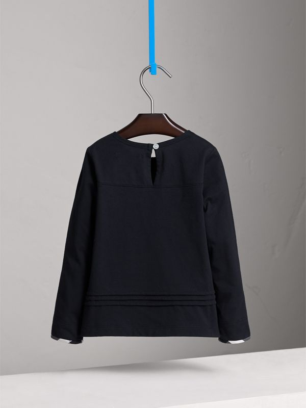 Long-sleeve Pleat and Check Detail Cotton T-shirt in Navy - Girl | Burberry United States - cell image 3