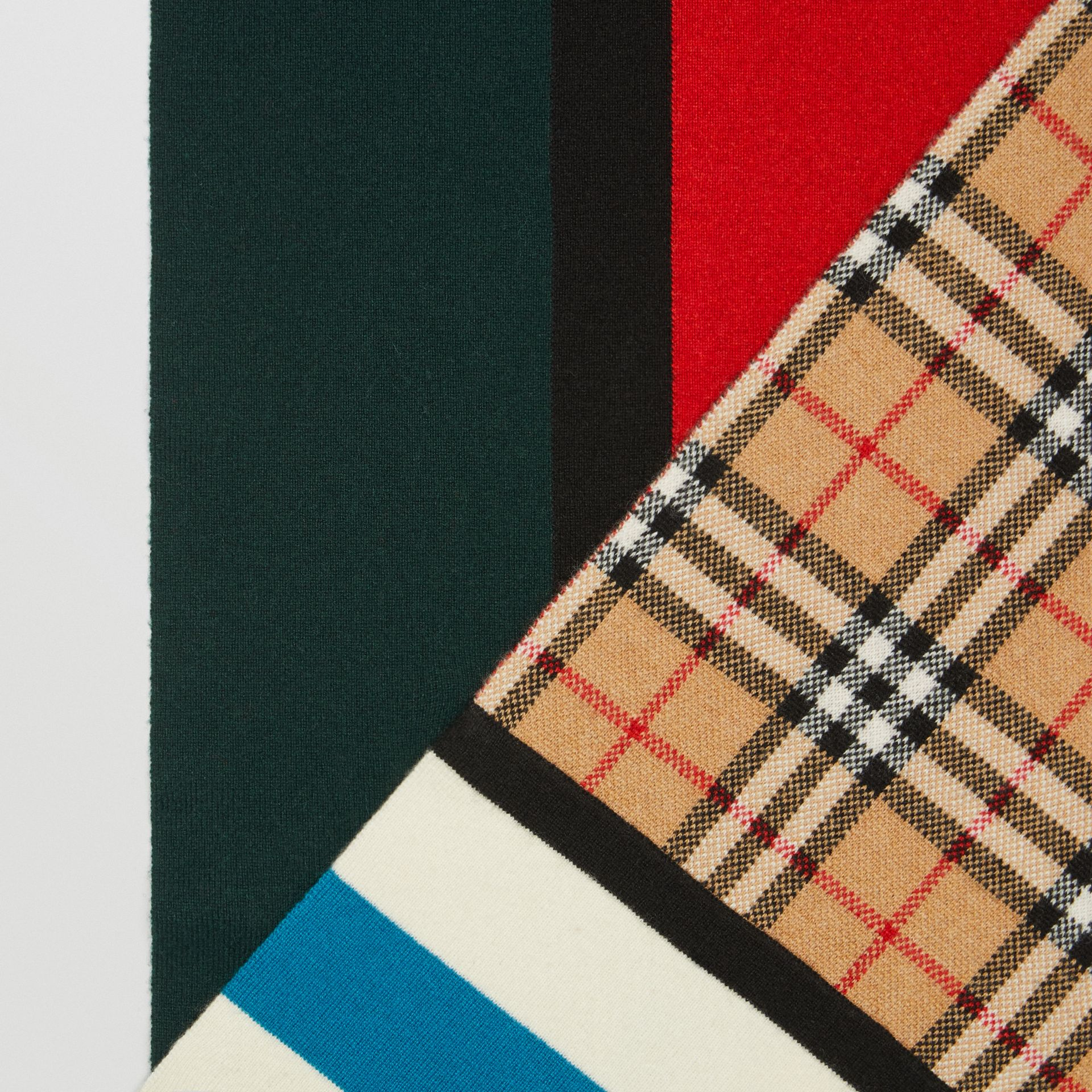 Vintage Check Colour Block Cashmere Blend Scarf in Multicolour | Burberry - gallery image 1