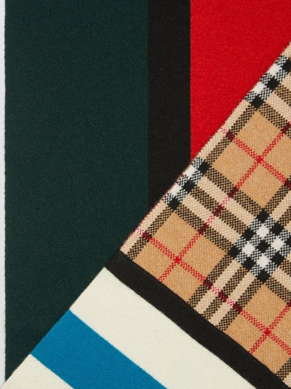 Vintage Check Colour Block Cashmere Blend Scarf in Multicolour | Burberry United Kingdom - cell image 1