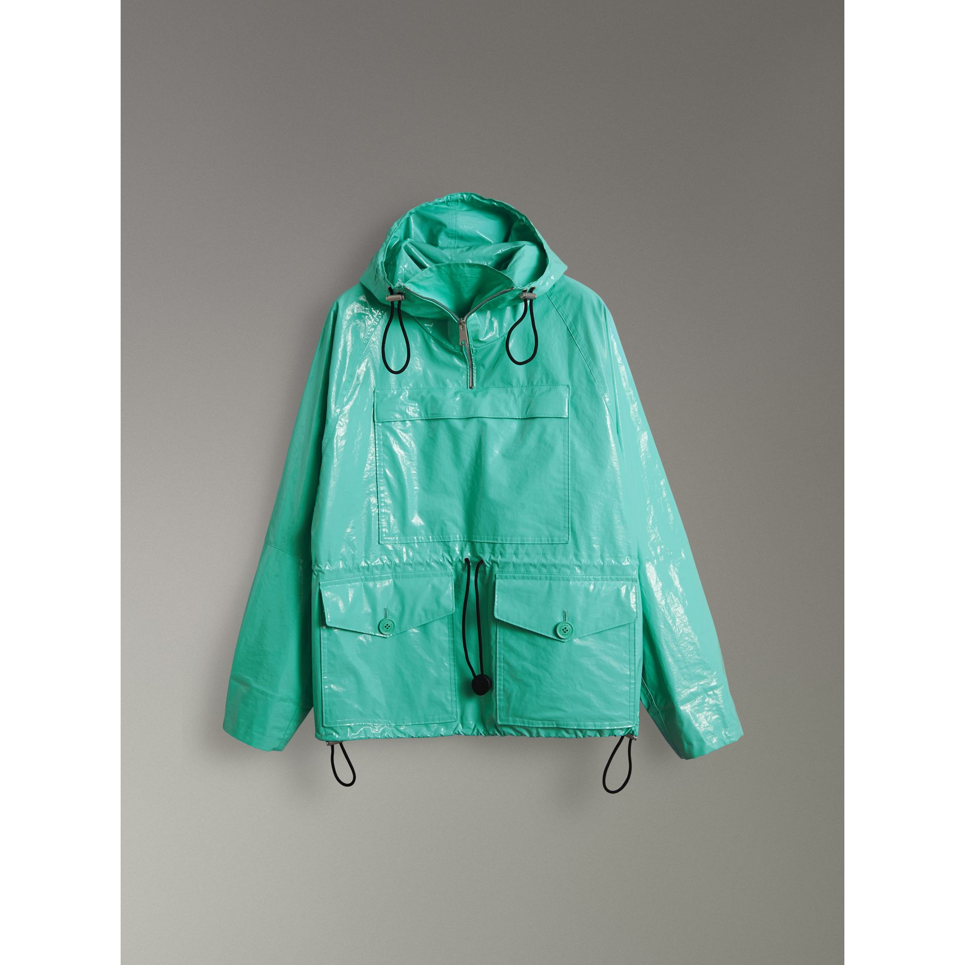 Laminated Cotton Anorak in Aqua Blue - Men | Burberry - gallery image 3