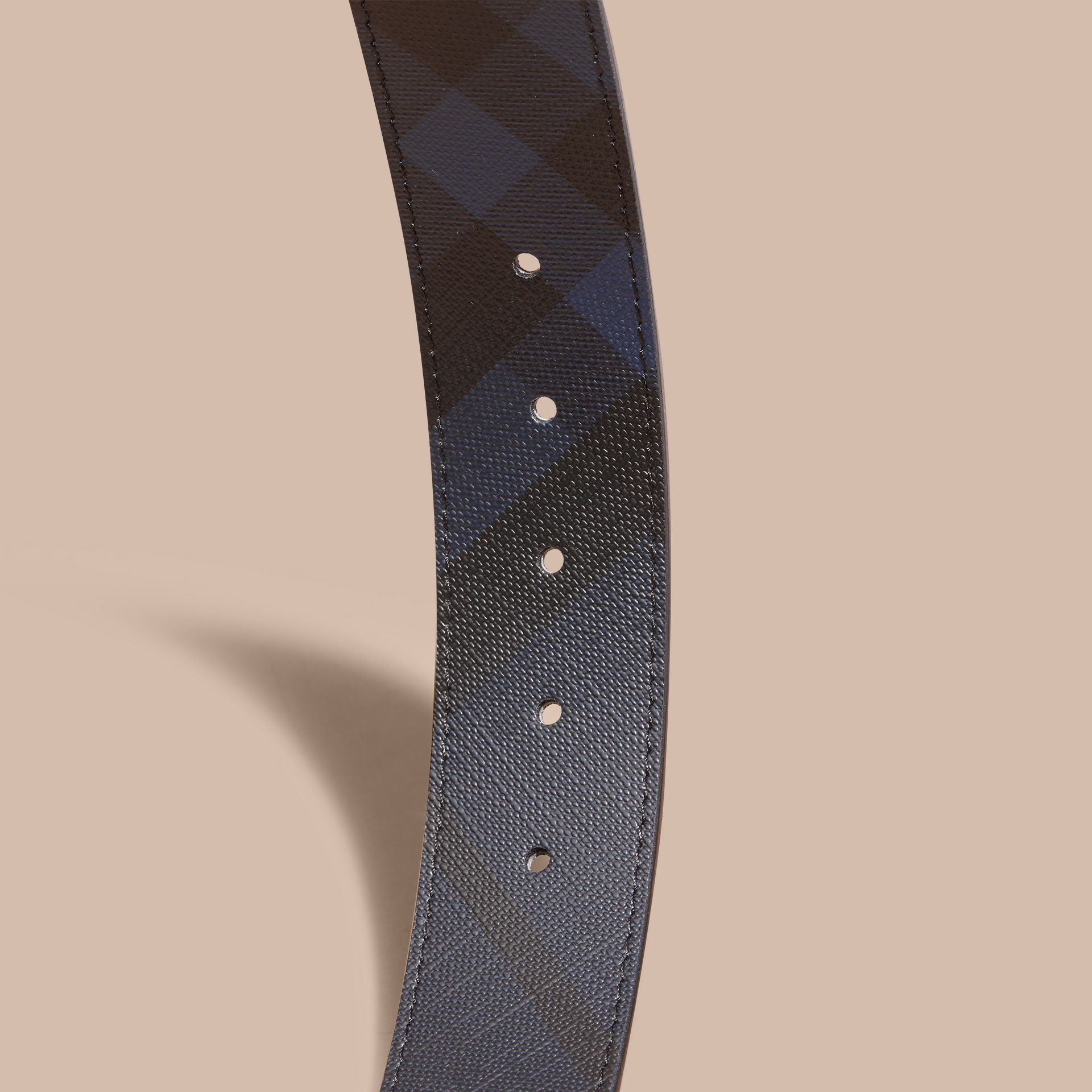 Leather Trim London Check Belt in Navy/black - Men | Burberry - gallery image 3