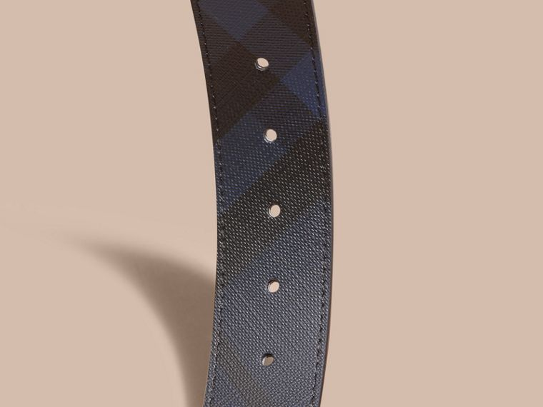 Leather Trim London Check Belt in Navy/black - Men | Burberry - cell image 2
