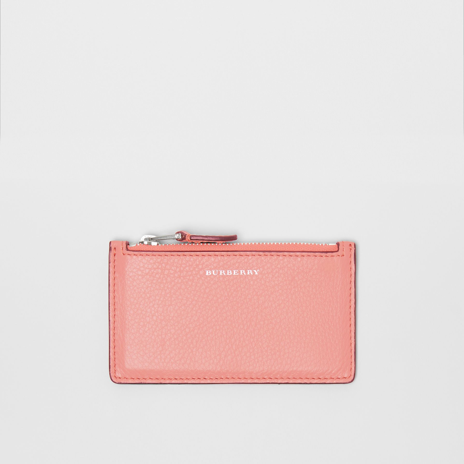 Two-tone Leather Zip Card Case in Dusty Rose - Women | Burberry - gallery image 0