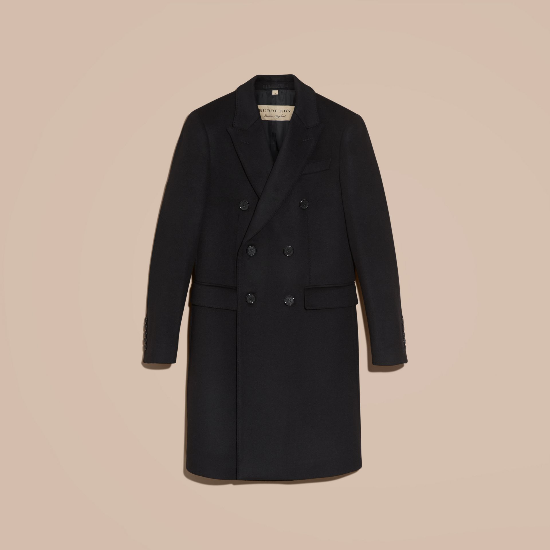 Black Double-breasted Wool Cashmere Tailored Coat - gallery image 4