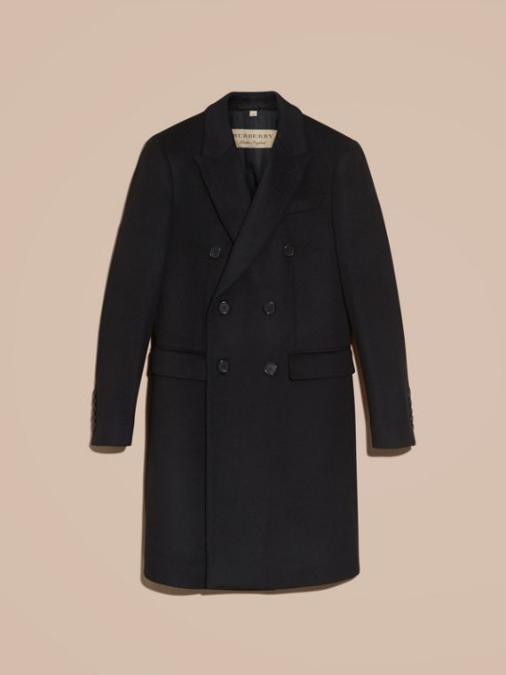 Black Double-breasted Wool Cashmere Tailored Coat - cell image 3