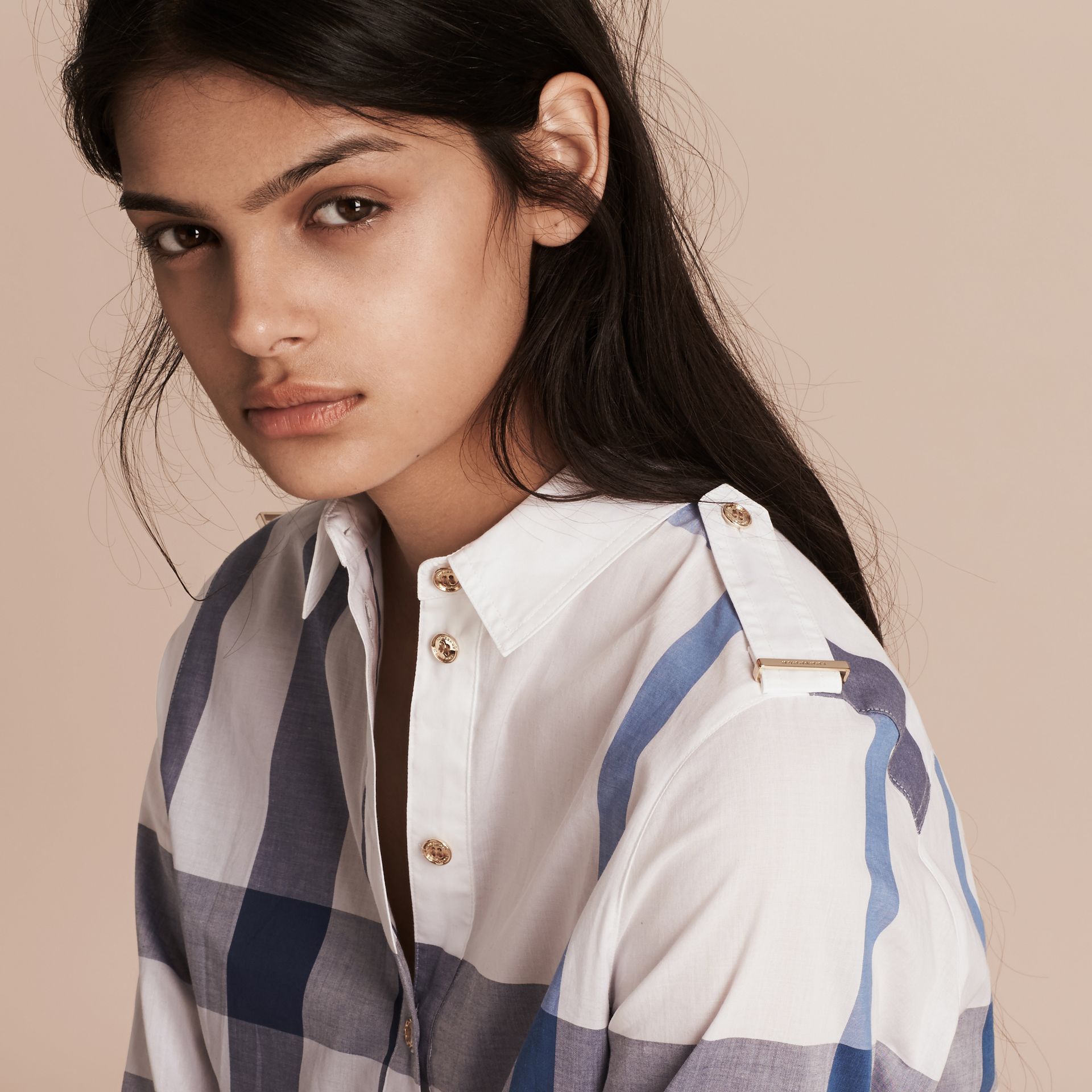 Ink blue Check Cotton Shirt Dress Ink Blue - gallery image 5