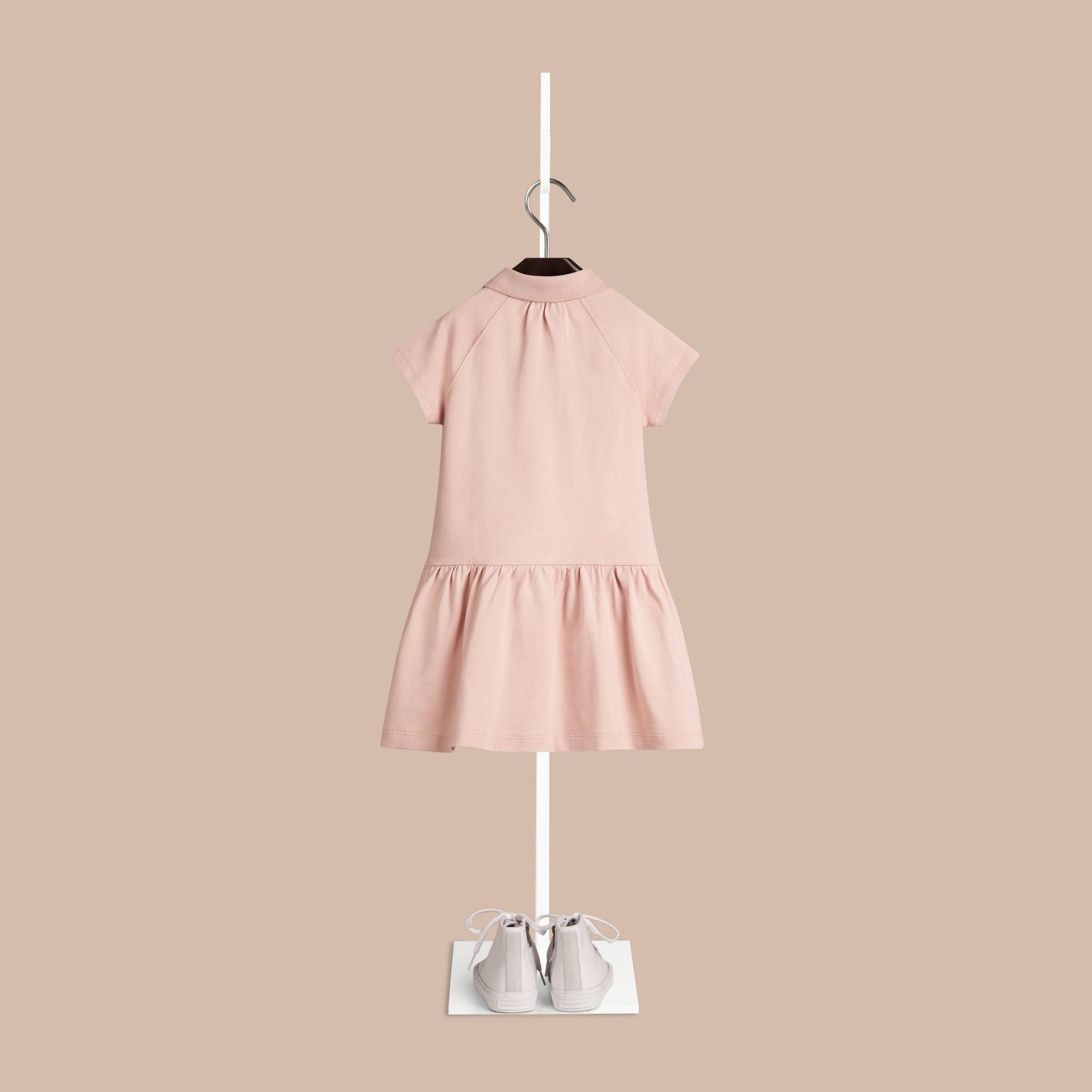Chalk pink Check Placket Cotton Blend T-Shirt Dress Chalk Pink - gallery image 2