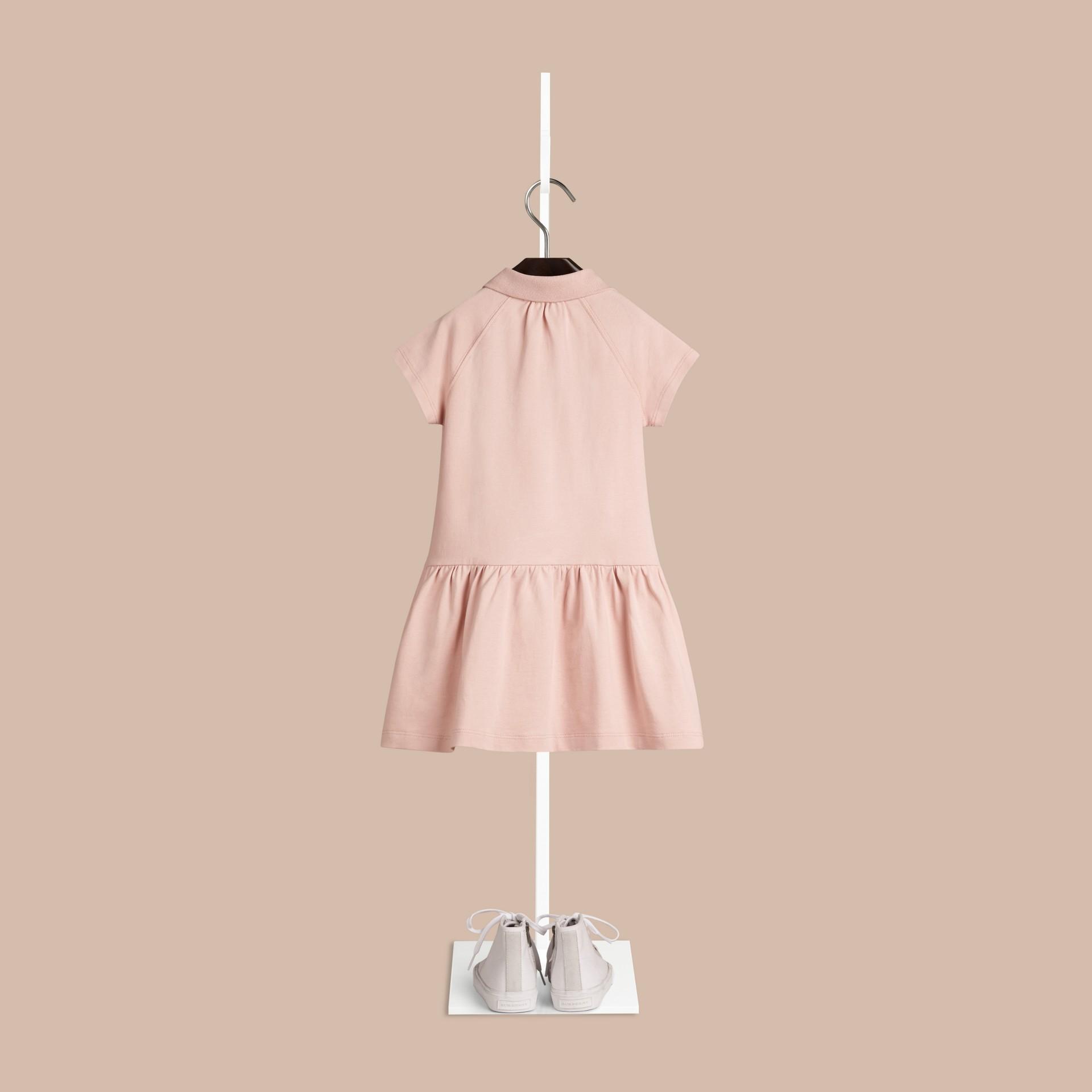 Chalk pink Vestido estilo T-shirt de algodão com tira de botões xadrez Chalk Pink - galeria de imagens 2