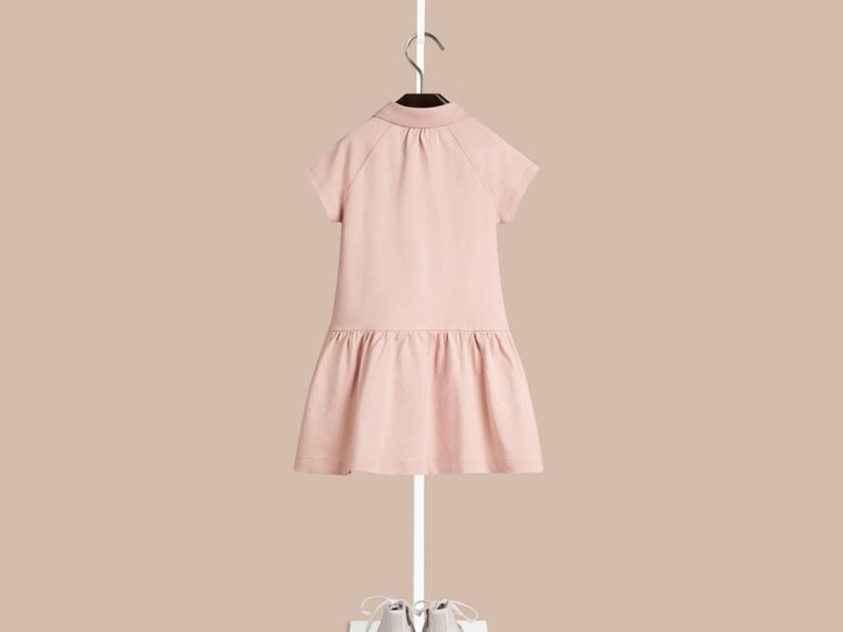 Chalk pink Check Placket Cotton Blend T-Shirt Dress Chalk Pink - cell image 1