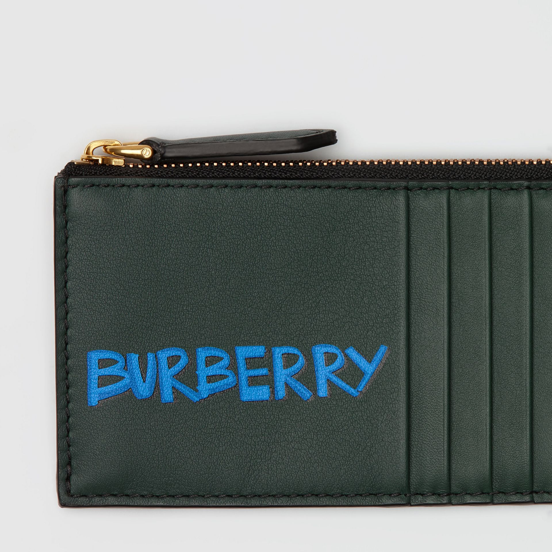 Graffiti Print Leather Zip Card Case in Deep Bottle Green | Burberry - gallery image 1