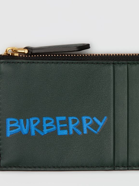 Graffiti Print Leather Zip Card Case in Deep Bottle Green | Burberry - cell image 1
