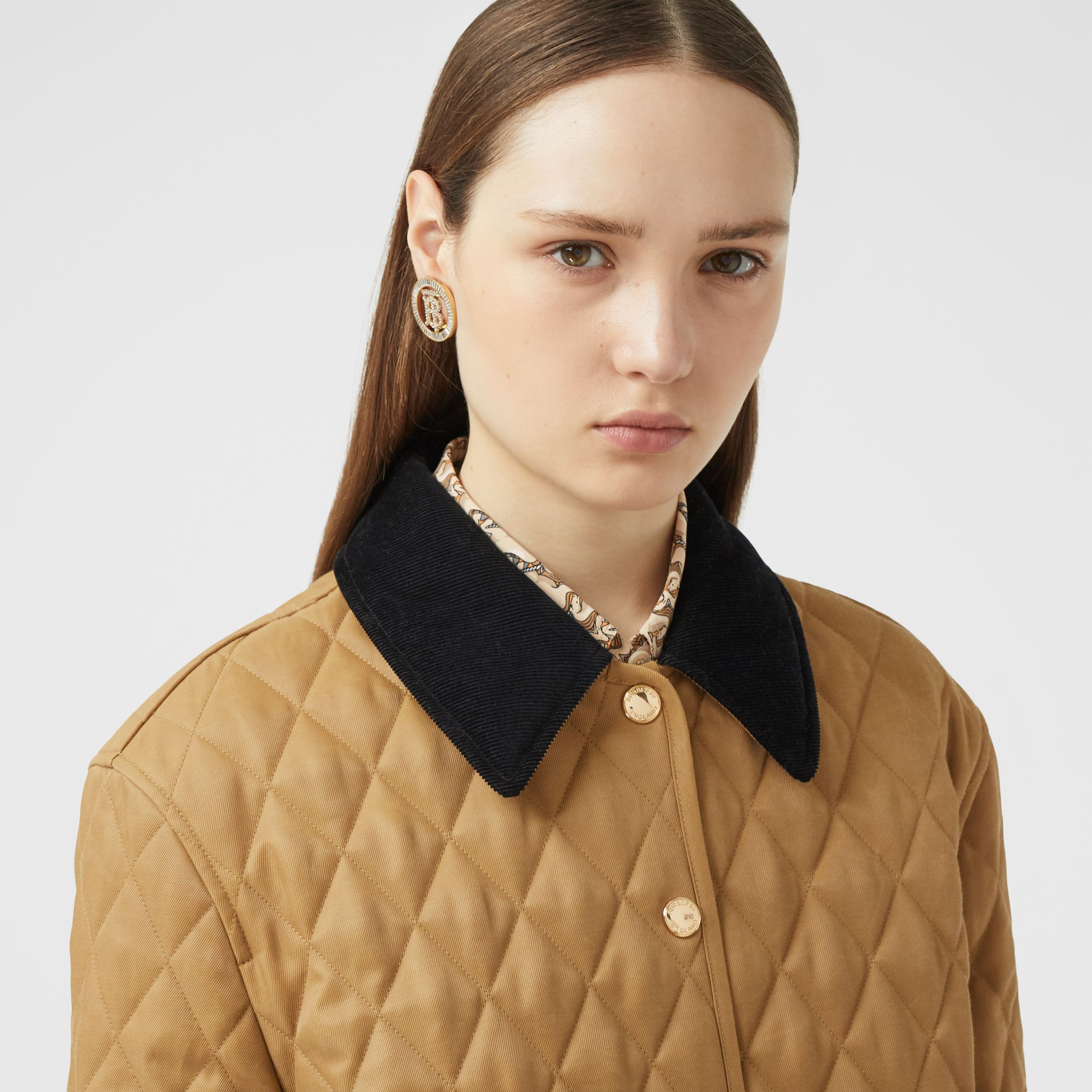 Corduroy Collar Diamond Quilted Jacket in Camel - Women | Burberry - 2